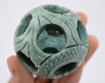 Hand Carved Jade Puzzle Ball (Small)
