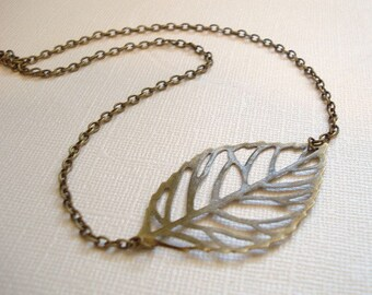 Leaf Necklace Brass Leaf Necklace Jewelry Sideways Leaf Necklace Brass Leaf Necklace Leaf Pendant Jewelry