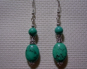 925 Silver Turquoise Dangle Earrings Chinese Turquoise Gemstone Sterling Silver Jewelry Boho Jewelry Gift For Friend Green Stone Jewelry