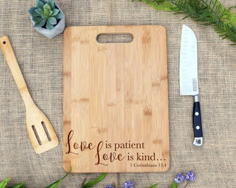 Love is Patient Love is Kind Cutting Board, Cheese Board, Laser Engraved, 1 Corinthians, Wedding Gift, Present, Anniversary, Valentine's Day