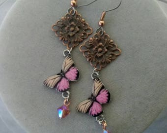 Beige, Pink, and Copper Butterfly Earrings