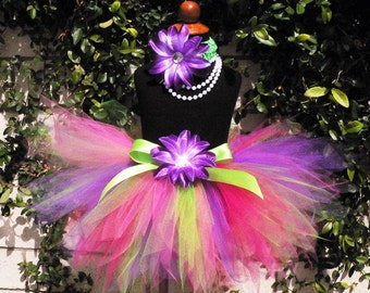 "Girls Tutu, Birthday Tutu, Tutu and Headband, Tutu Set, Green Purple Pink 11"" Pixie Tutu, TROPICAL BURST, Tinkerbell Birthday Tutu, Tutus"