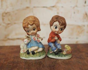 Ceramic Kitsch Boy and Girl Ornaments