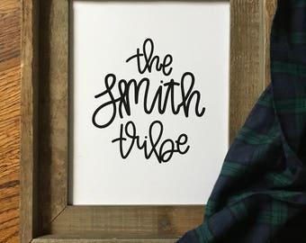 Custom, Hand Lettered, Family Name, Print, Design