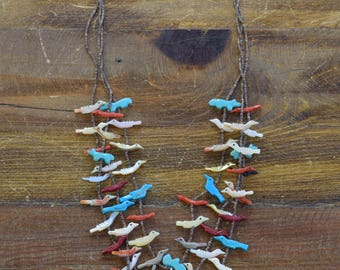 Vintage Zuni Three Strand Bird Fetish Necklace