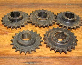 "Set of Five 3 1/2"" x 1"" Sprockets/Gears - Steampunk, Industrial/Machine Age Decor or Art Project"