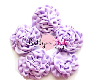 Lavender MINI Isabella Collection Ruffled Rosettes- You Choose Quantity- Rolled Rosettes- Rolled Rosettes- Rosettes- Flower- Supply DIY