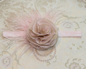 Bridal Fascinator - A Chiffon Flower Clip With Ostrich Feather Accents - The Adalie Wedding Fascinator