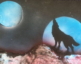 Spray paint technique wolf painting