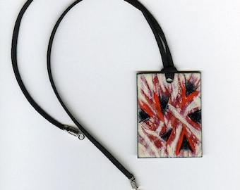 Enameled copper pendant