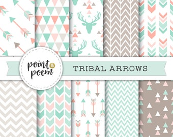 Tribal Digital Papers, Arrows Pink Mint Green Printable Triangles Chevron Antlers Deer Hipster - Commercial Use