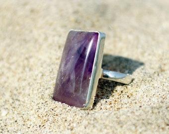 Amethyst Ring, Purple Jewelry, Purple Ring, Rectangular Ring, Violet Stone Ring, Silver Amethyst Ring, Handmade Ring, Adjustable Ring