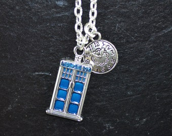 Time Lord Necklace, Tardis, Dr Who, Doctor Who, clock, ND027, Whovian