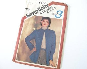 UNCUT Vintage 1980's Jacket Pattern, Simplicity 6514, Size 16,  Bust 38 Inches