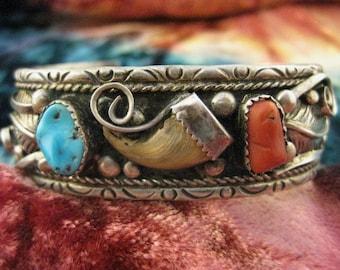 Vintage Unique Sterling Silver Navajo Bracelet