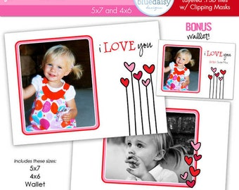DOODLES Valentines Custom Photo Card  4x6 and 5x7 BONUS WALLET Size - Photographer Templates