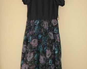 1980s Vintage Black Floral Dress