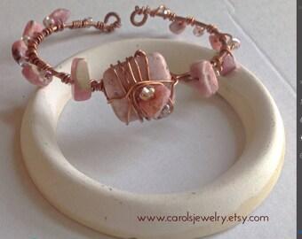 Pink Gemstone Bracelet, Rhodocrosite Gems,  Rhodochrosite Bracelet, Valentine Jewelry, Wire Wrapped Stones