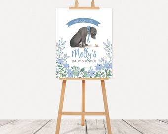 Black Labrador Baby Shower Welcome Sign