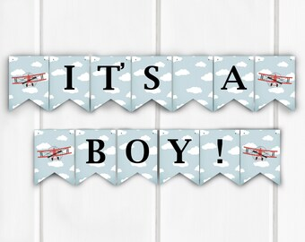 It's A Boy! Banner, Baby Shower Decoration, Airplane Baby Shower, Item 221