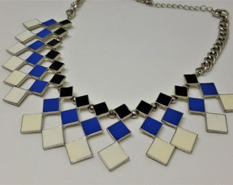 Retro Bib Style Geometric Necklace, Silver Tone, Vintage Necklace, Black Blue and White Diamond Pattern, Gift for Her, Vintage Jewellery