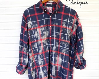 LARGE - Flannel Shirt - Bleached - Vintage Washed Flannel - Oversized Flannel - Distressed Flannel - Plaid Shirt - Fall Shirt