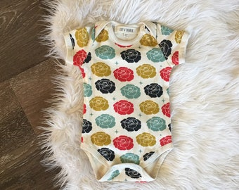 Organic baby clothes, fall outfit bodysuit, romper, take home outfit, newborn girl, coming home, 0-3 months, 3-6 months, 6-12 months