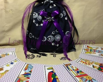 """Pouch for Tarot and Oracle """"Wicca Violet"""" - Deck Bag - Oracle Bag - Tarot Bag."""
