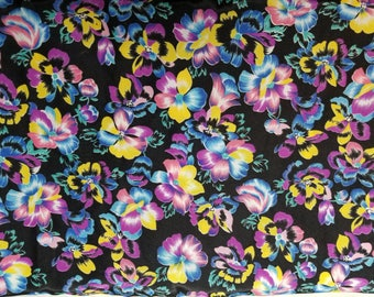 2 3/4 yards, purple, yellow, blue pansies on black background floral polyester silk fabric