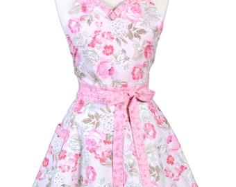 Sweetheart Retro Apron - Shabby Chic Pastel Pink Rose Floral Apron - Womens Flirty Sexy Kitchen Pinup Cute Apron - Monogram Option