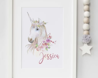 Personalised watercolor Unicorn print- nursery, bedroom, playroom print