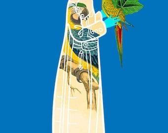 Bird Coat Art Print, Girl in Parrot Coat Illustration, Fashion Illustration, African American Art, Natural Hair Artwork 5x7, 8x10, 11x14