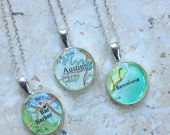 Map Necklace Personalized  Bridesmaid Gift BFF Sterling Silver Chain Custom Location Petite Wedding Gift
