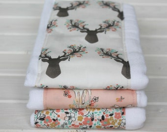 Burp clothes - 3 pk burp cloth - baby girls burp cloth - infant baby gift - Burpies - Shower gift - Deer and Antlers - Floral