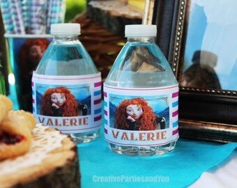 Brave Party Water Bottle Labels - Merida Labels / Brave Water Bottle Labels Set of 12