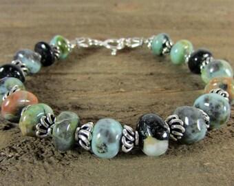 Chrysocolla & Sterling Silver Bracelet, Gemstone Bracelet, Earthtone Bracelet