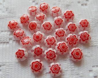 25  Cherry Red & White Flower Millefiori Puffed Coin Lampwork Glass Beads  8mm