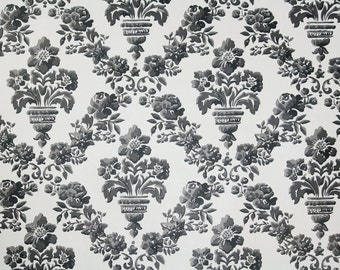Retro Wallpaper by the Yard 70s Vintage Wallpaper - 1970s Black and White Floral Damask