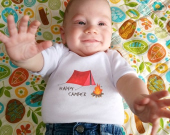 Cute Baby bodysuit, Unique Baby clothes, Camping baby shower, Happy Camper, Camping Baby, Outdoor kids, Camper, Hiking, Hiker