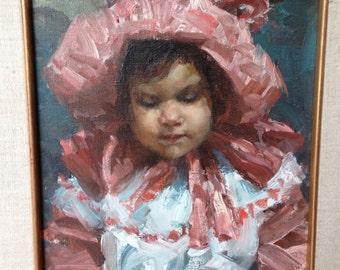 Pristine Ramon Kelley oil painting 1985 original ornate wood frame The Sun Bonnet beautiful prairie girl