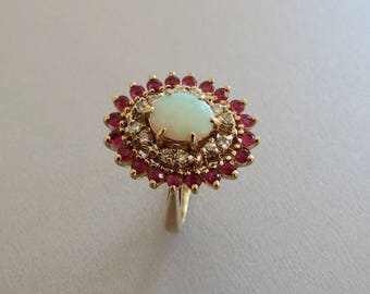 Vintage estate 14k Yellow Gold Opal Ruby Diamond Cocktail ring, size 5.25