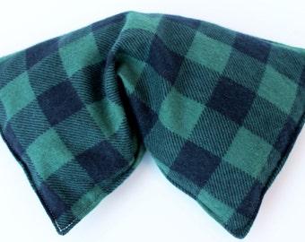Corn bag - corn heating bag - medium size - green plaid flannel - Corn filled heating pad - corn warmer - hot cold pack