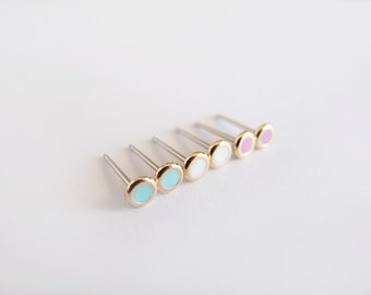 Set of Tiny Three Pairs 4mm Mint, White and Fucshia Gold Stud earrings - Hypoallergenic Surgical Steel Posts