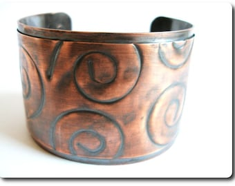 Copper Spiral Print Cuff Bracelet