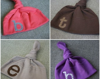 Personalized Triplet Baby Hats -  American Apparel Knot Hat with Embroidered Monogram Applique - YOU CHOOSE 3 HATS - free shipping