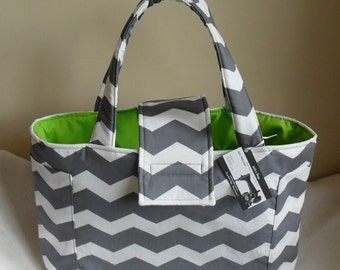 Large Gray and White Chevron with Lime Green Diaper Bag Tote
