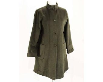 XL Cashmere Blend Coat - Luxury SuperAngora 3/4 Length Jacket by Pierrette Switzerland - Dark Pine Green Near Black - Bust up to 56 - 48693