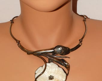 HUGE Sterling Silver Calla Lily Flower Hand Wrought Necklace.