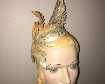 Orange Cream and Embossed Gold Feather Headpiece