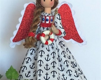 """Handmade 8"""" to 9 """" fabric and lace nautical themed angel,  tree topper, gift, centerpiece or table decor"""